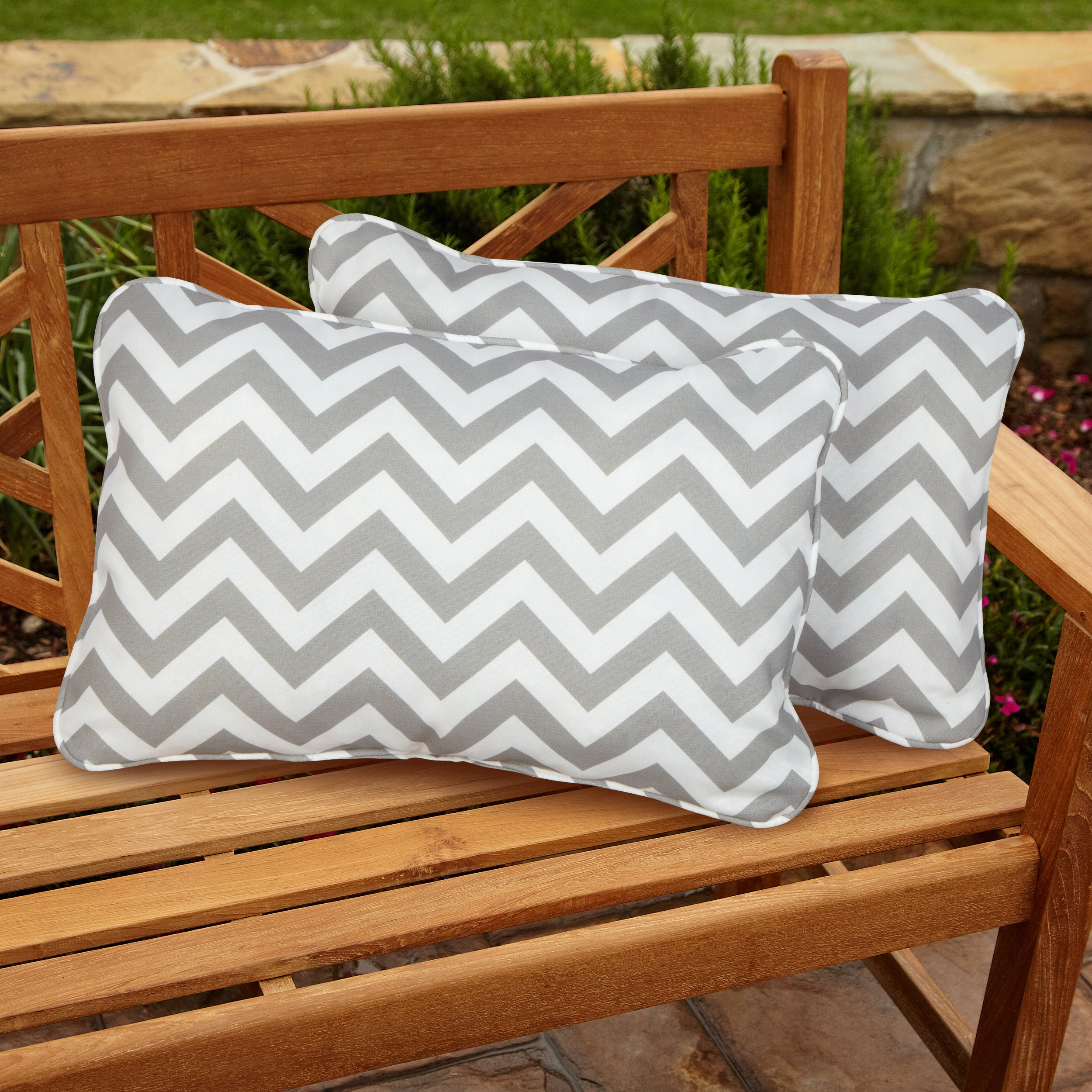 Chevron Grey Corded Indoor/ Outdoor Accent Pillows (Set of 2) at Sears.com
