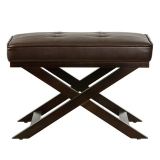 Cortesi Home Ari Brown Faux Leather Ottoman