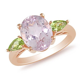Miadora 14k Rose Gold Kunzite and Peridot Ring