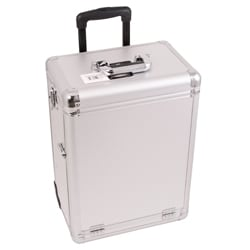 Sunrise Silver Dot Aluminum Rolling Makeup Train Case