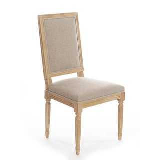 Gallery French Square Upholstered Linen Side Chair