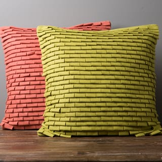 Decorative Carson Solid Ruffled Down or Poly Filled Square Pillow
