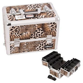 Sunrise Brown Leopard 6-Tier Extendable Tray Aluminum Makeup Case