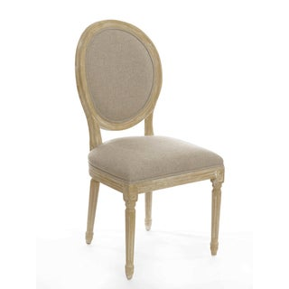Gallery French Round Upholstered Linen Side Chair