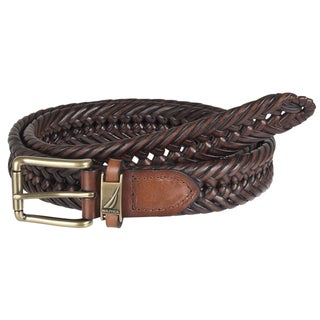 Nautica Men&#39;s Brown Woven Leather Belt