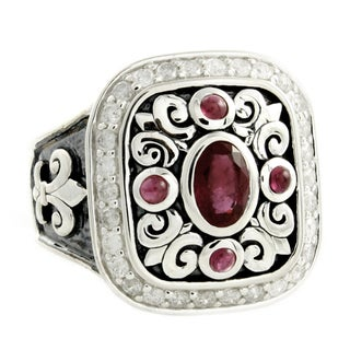 Beverly Hills Charm Sterling Silver Ruby and 1/2ct TDW Diamond Ring (H-I, I2-I3)
