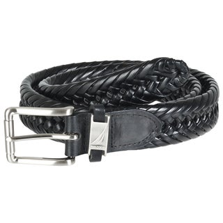 Nautica Men&#39;s Black Leather Braided Belt