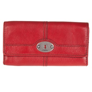 Fossil Women's Vintage Leather Trifold Clutch Wallet