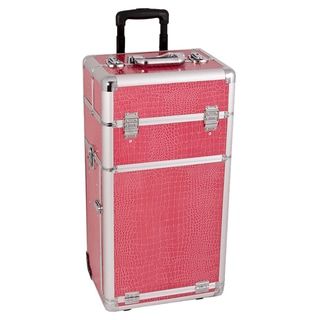 Sunrise Hot Pink Crocodile Rolling Makeup Case