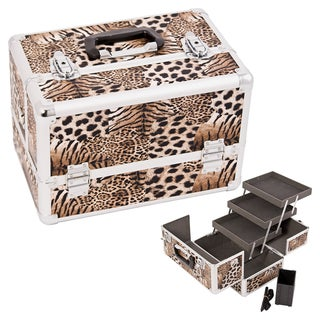 Justcase Brown Leopard 3-tier Extendable Tray Makeup Case