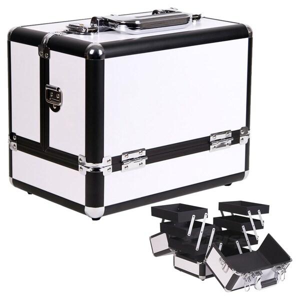 Casemetic Aluminum White Makeup Train Case