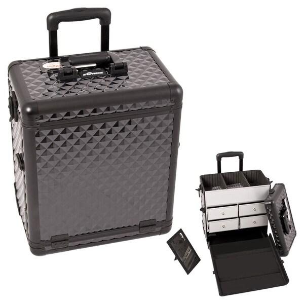 Sunrise Black Diamond Rolling Aluminum Makeup Case