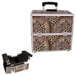 Sunrise Leopard 3-Tier Rolling Makeup Case