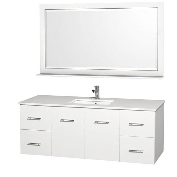 Centra White 60-inch Single Undermount Bathroom Vanity Set