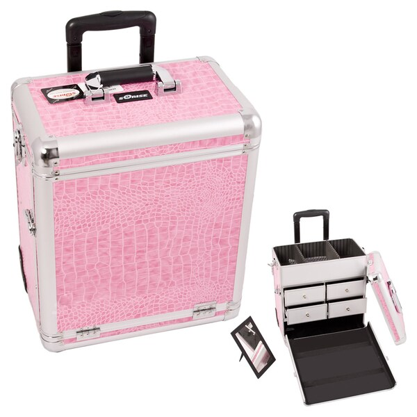 Sunrise Pink Crocodile Rolling Aluminum Makeup Train Case