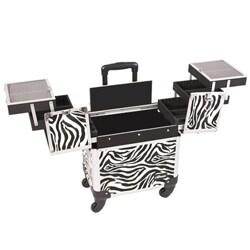Sunrise Zebra Rolling Aluminum Makeup Case