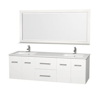 Centra White 72-inch Double Undermount Bathroom Vanity Set