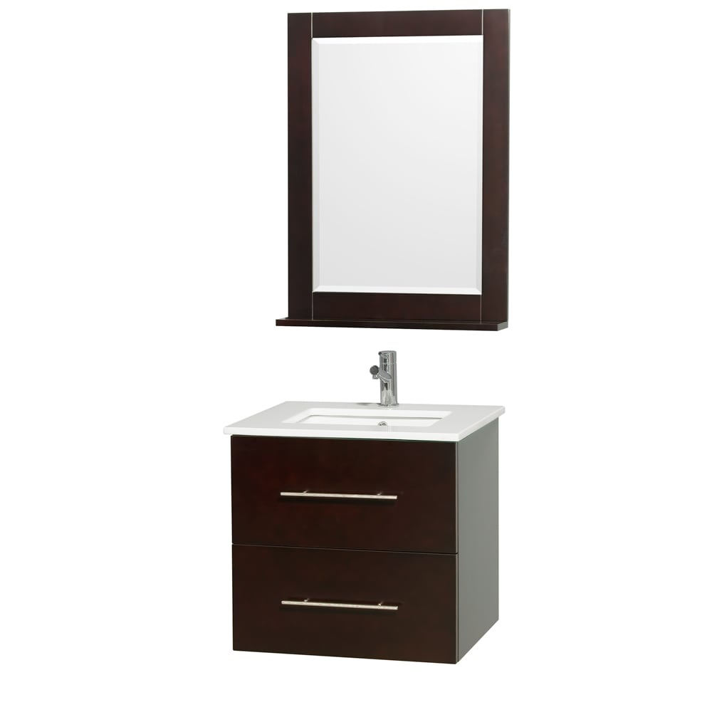 Wyndham Collection Centra Espresso/ White 24-inch Single Bathroom Vanity Set at Sears.com