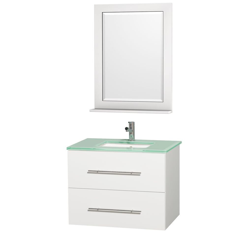 Wyndham Collection Centra White/ Green Glass 30-inch Single Bathroom Vanity Set at Sears.com