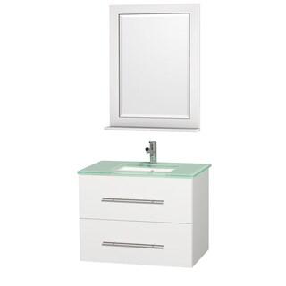 Centra White/ Green Glass 30-inch Single Bathroom Vanity Set