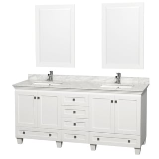 Acclaim White Carrera Marble 72-inch Double Bathroom Vanity Set