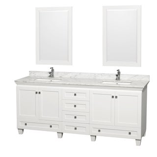 Acclaim White/ Carrera Marble 80-inch Double Bathroom Vanity Set