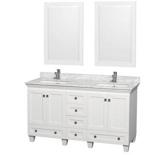 Acclaim White/ Carrera Marble 60-inch Double Bathroom Vanity Set