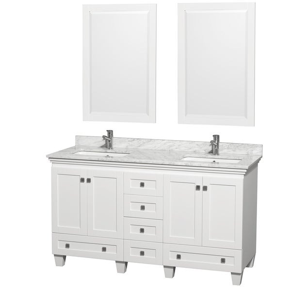 Acclaim White Carrera Marble 60 Inch Double Bathroom Vanity Set 15263129