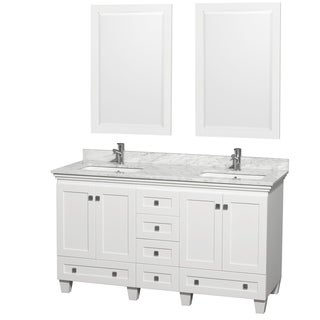 Acclaim White/ Carrera Marble 60-inch Double Bathroom Vanity Set