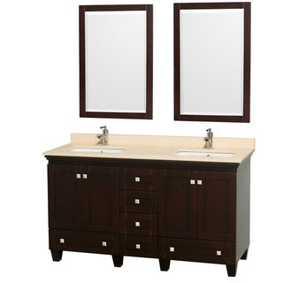 Acclaim Espresso/ Ivory Marble 60-inch Double Bathroom Vanity Set