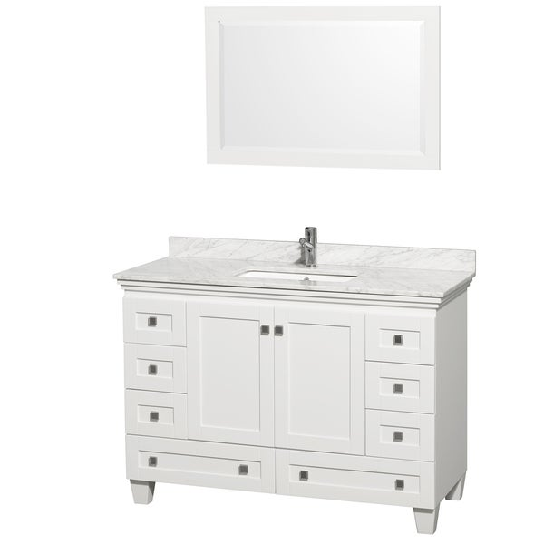 Http Www Overstock Com Home Garden Acclaim White Carrera Marble 48 Inch Single Bathroom Vanity Set 7880526 Product Html