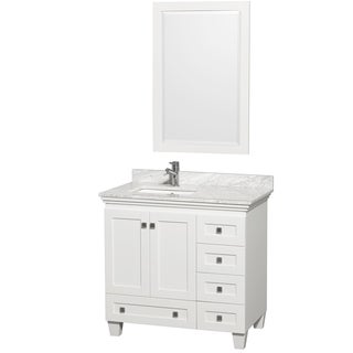 Acclaim White/ Carrera Marble 36-inch Single Bathroom Vanity Set