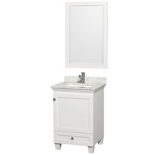 Acclaim White/ Carrera Marble 24-inch Single Bathroom Vanity Set