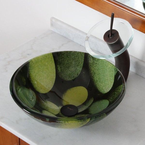 Elite Cobblestone Pattern Tempered Glass Bathroom Sink