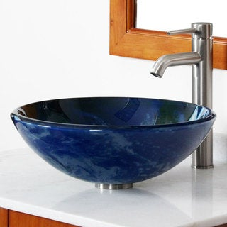 Elite Earth Pattern Tempered Glass Bathroom Sink