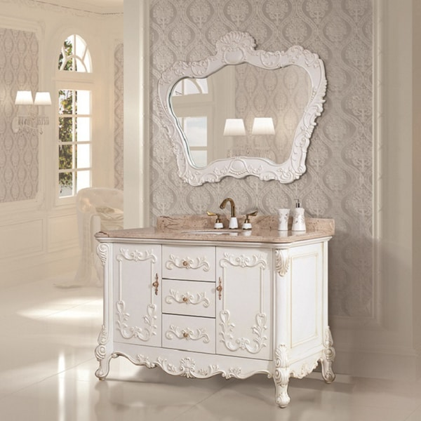 Natural Marble Top 51.2-inch Single Sink Bathroom Vanity with Matching Mirror
