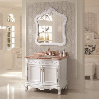 Natural Marble Top 39.4-inch Single Sink Bathroom Vanity with Matching Mirror