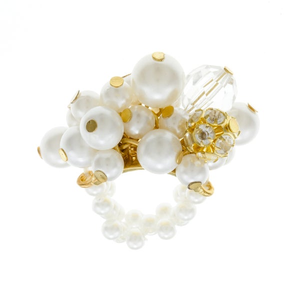 Roman Goldtone Cream Faux Pearl and Crystal Cluster Stretch Ring