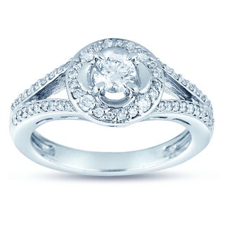 18k Gold 3/4ct TDW Diamond Halo Engagement Ring (H-I, SI1-SI2)