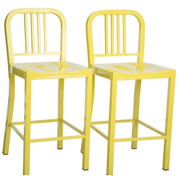 Metal Lemon Counter Stools (Set of 2)