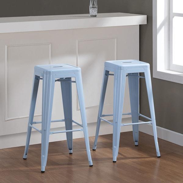 Tabouret 30-inch Blue Bar Stools (Set of 2)
