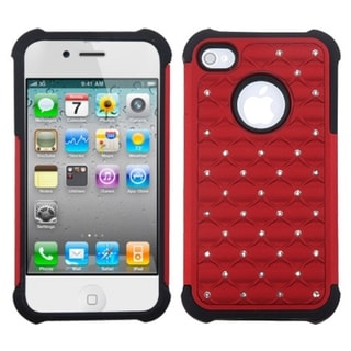 ASMYNA Red/ Black Luxurious Total Defense Case for Apple? iPhone 4/ 4S