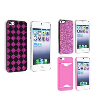 BasAcc Checker/ Purple Bling/ Pink Case for Apple� iPhone 5