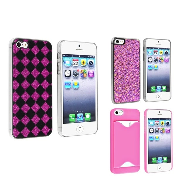 BasAcc Checker/ Purple Bling/ Pink Case for Apple® iPhone 5