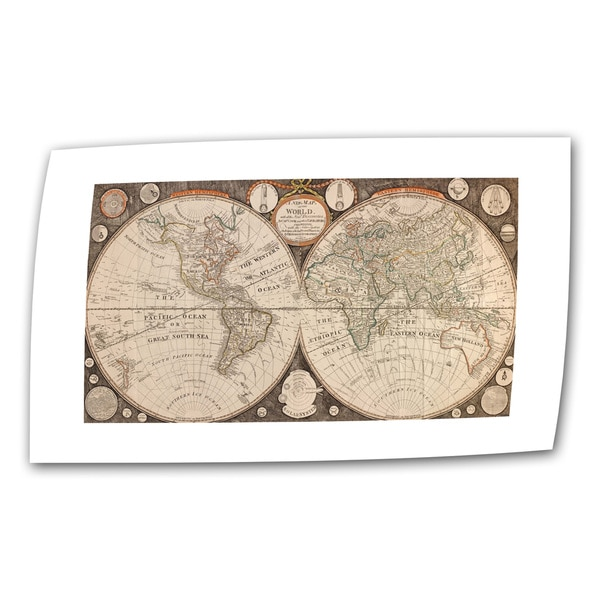 Jean Baptiste Nolin 'A New Map of the World' Unwrapped Canvas