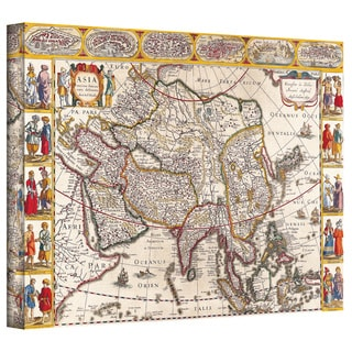 Guillaume Danet 'Map of Asia' Gallery Wrapped Canvas