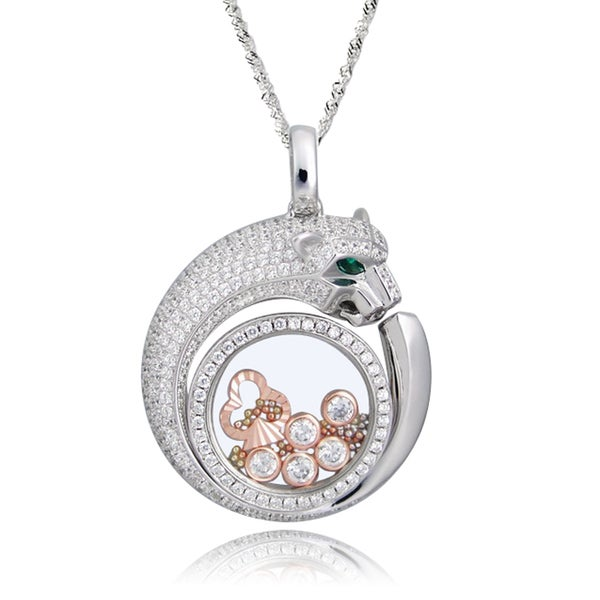 De Buman Two-tone Silver Cubic Zirconia and Crystal Leopard Necklace
