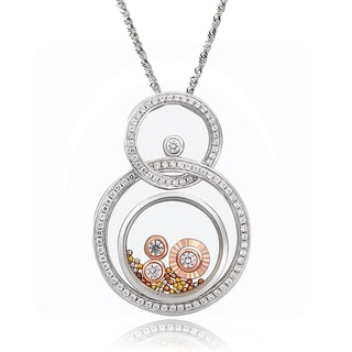 De Buman Two-tone Silver Cubic Zirconia and Crystal Eternity Necklace