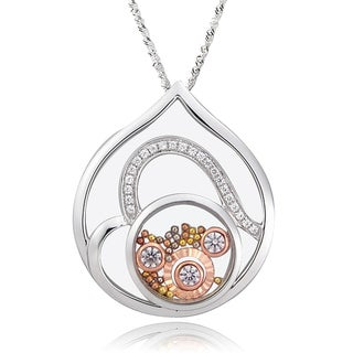 De Buman Two-tone Silver Cubic Zirconia and Crystal Heart Necklace