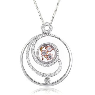 De Buman Two-tone Silver Cubic Zirconia and Crystal Necklace